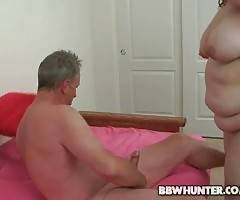 Chubby blond babe Monique is jumping on nice stiff dick.