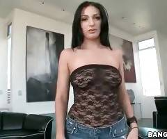 Breasted brunette hottie starts stripping for your pleasure.