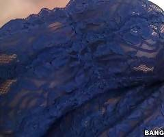 Lovely blonde Dayna Vendetta, dressed is blue lace top and shorts is ready for some fun.