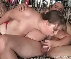 Naughty chubby babe gives her lover skillful blowjob.